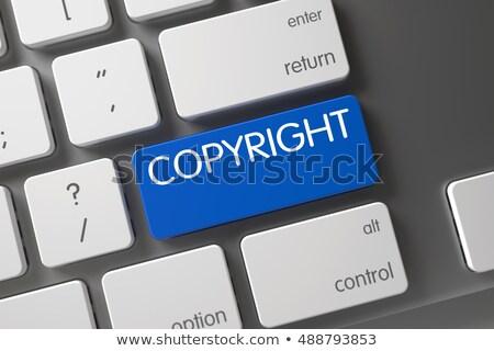 Kék szerzői jog numerikus billentyűzet billentyűzet 3d illusztráció pc Stock fotó © tashatuvango