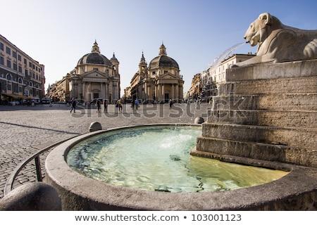 Lions, fountain, Piazza del Popolo, Rome, Italy stock photo © ankarb