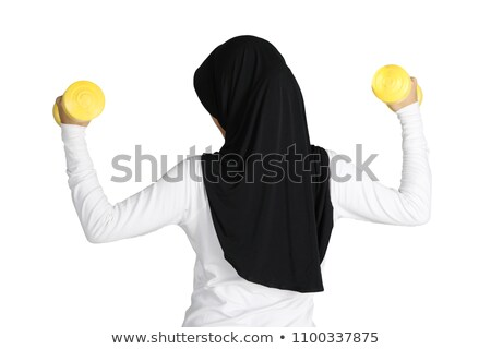 Ismeretlen nő bicepsz zöld súlyzók stúdió Stock fotó © julenochek