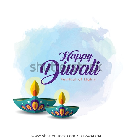 beautiful diwali background with diya and watercolor stain stock photo © sarts
