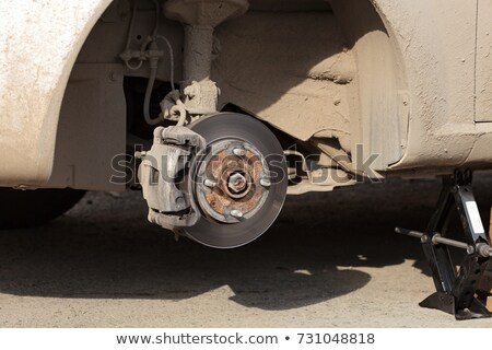 closeup shot of cars disc brake without wheel on it stock photo © nobilior