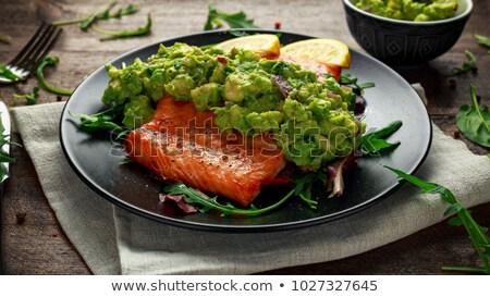 Stok fotoğraf: Salmon With Avocado Salsa