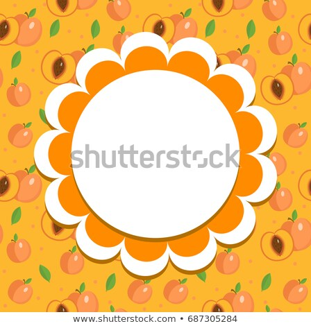 Peach label, wrapper template for your design. Fruit frame with space for text. Vector illustration. Stock photo © lucia_fox
