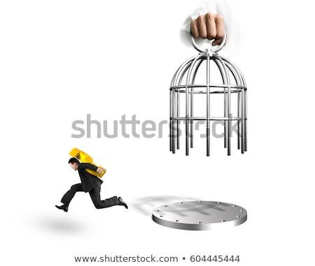 férfi · fogoly · izolált · fehér · férfi · fehér · lánc - stock fotó © elnur