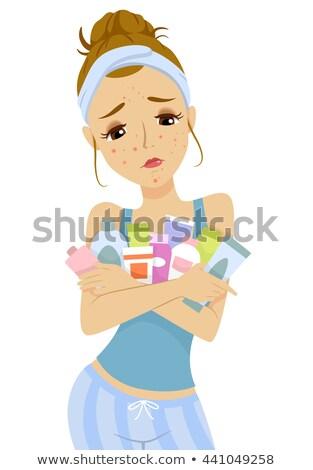Teen girl brufolo prodotti di bellezza illustrazione acne Foto d'archivio © lenm