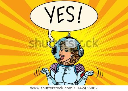 Sim vencedor astronauta mulher desenho animado Foto stock © rogistok