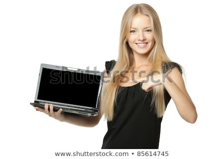 Gülen iş kadını dizüstü bilgisayar ekran Stok fotoğraf © deandrobot