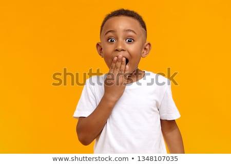 Boldog megrémült gyermek rózsaszín póló arc Stock fotó © LightFieldStudios