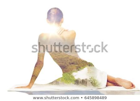 bela · mulher · sessão · topless · mulher · sexy · isolado · branco - foto stock © dolgachov