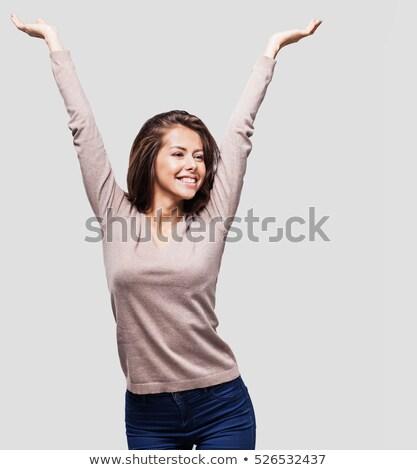 Portré nő kéz levegő mosolyog áll Stock fotó © IS2