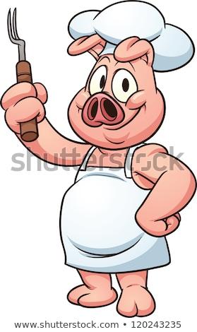 свинья · повар · Бейкер · талисман - Сток-фото © krisdog