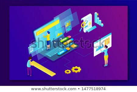 Infographic design with people and different settings Stock photo © bluering