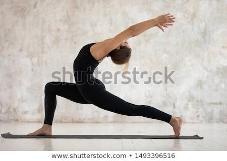young woman in black sportswear posing in gym stock photo © dolgachov