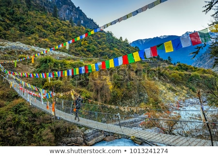 Woman backpacker crossing suspension bridge in Himalayas Nepal Stock photo © blasbike