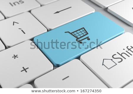 Blauw web winkel sleutel toetsenbord 3D Stockfoto © tashatuvango