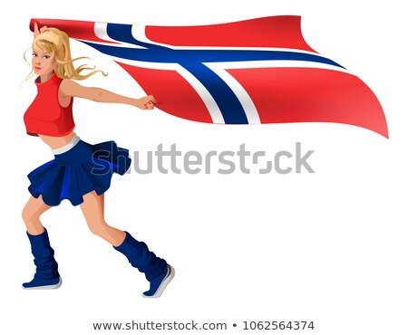 Nina ventilador bandera Noruega Foto stock © orensila