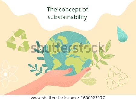 öko világ kinyitott kéz tart zöld levél Stock fotó © psychoshadow