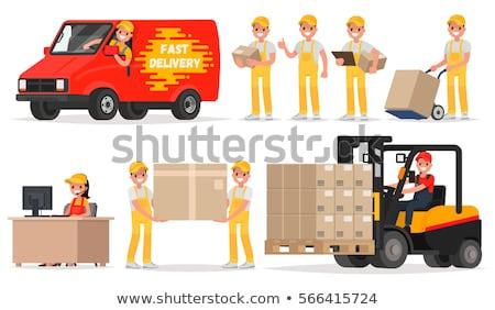 Futár doboz ikon stílus kartondoboz helyi Stock fotó © studioworkstock