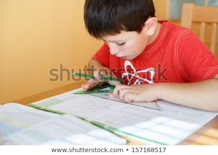 Student geometria papieru farbują pracy nauki Zdjęcia stock © IS2