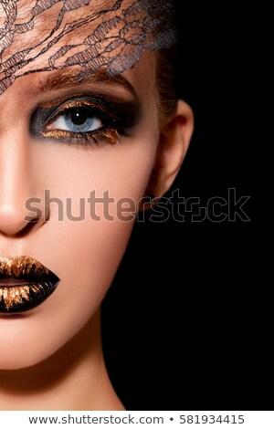 színes · nyalóka · extrém · divat · smink · lány - stock fotó © fotoduki