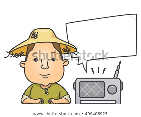 Man landbouwer radio tekstballon illustratie strohoed Stockfoto © lenm