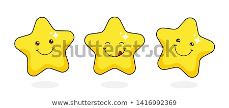 Funny Yellow Star Cartoon Emoji Face Character With Smiling Expression Stock photo © hittoon