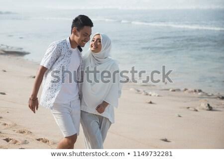 été · Voyage · silhouette · plage · coucher · du · soleil · rétro - photo stock © studiostoks