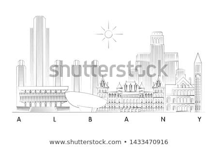Нью-Йорк · Skyline · черно · белые · иллюстрация · статуя · свободы - Сток-фото © blamb