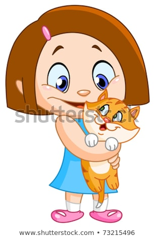 little girl and cat female child holding pet vector illustrati stock photo © maryvalery