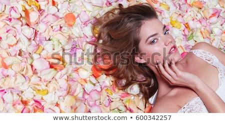 Bela mulher piso rosa branco mulher Foto stock © alexandrenunes