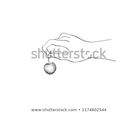 Cherry on top. Hand holding berry. Cooking dessert sign. Bonus i Stock photo © Terriana