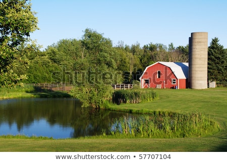 red barn and pond farm scene stock photo © bluering