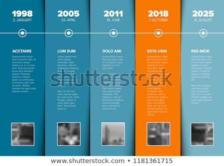 Timeline template with blue blocks and photo placeholders Stock photo © orson