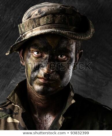 Uzbrojony żołnierz uszkodzony ściany człowiek tle Zdjęcia stock © ra2studio