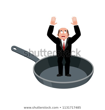 Businessman in frying pan. sinner in cauldron. boss is frying on Stock photo © popaukropa
