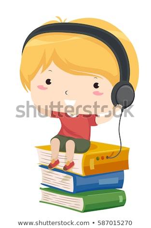 Kid ragazzo ascoltare audio libro testa Foto d'archivio © lenm