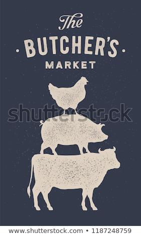 hentes · bolt · címke · kitűző · tehén · friss - stock fotó © foxysgraphic
