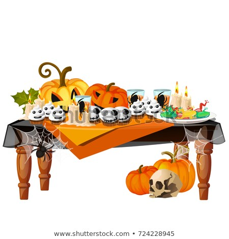 festive table with burning candles and themed delicacies isolated on white background sketch for a stock photo © lady-luck
