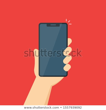Mobile applications concept. Hands with phones. Flat vector illustration. stock photo © makyzz