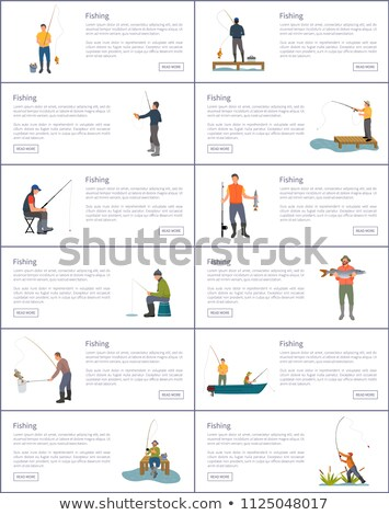 Fishing Process Male Hobby and Sport Posters Set Stock photo © robuart
