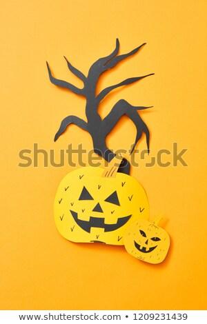 Papieru drzewo scary pomarańczowy przestrzeni Zdjęcia stock © artjazz
