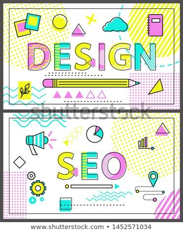 デザイン seo バナー リニア セット 幾何学的な ストックフォト © robuart