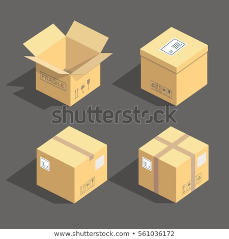 Carton Delivery Packaging Closed Box with Fragile Signs. Stock photo © tashatuvango