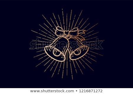 Christmas bells. Golden sign jingle bells with light rays Stock photo © FoxysGraphic