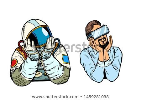 Karikatür gülen astronot adam Stok fotoğraf © cthoman