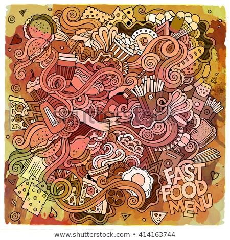 Cartoon watercolor hand drawn doodles Fastfood card design. Stock photo © balabolka