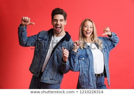 портрет счастливым джинсовой Постоянный вместе Сток-фото © deandrobot