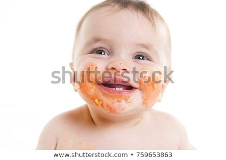 Foto stock: Pequeno · bebê · alimentação · jantar · bagunça
