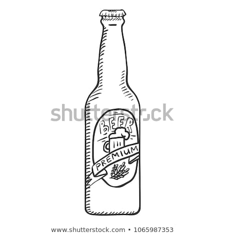 craft beer bottle with label monochrome sketch stock photo © robuart