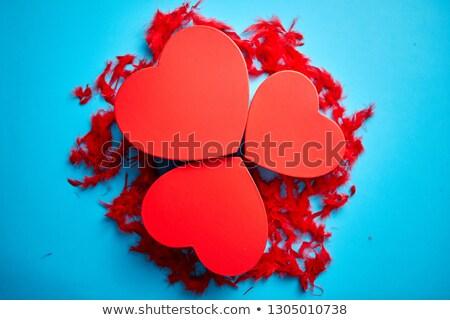 Сток-фото: три · красный · сердце · синий